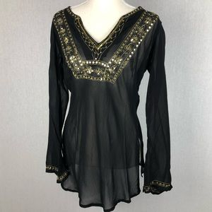 Angie Black & Gold Sheer Swim Cover Up